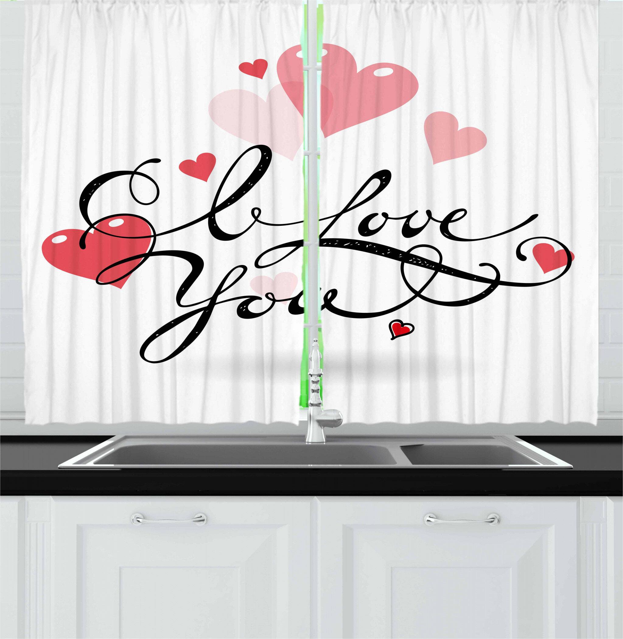 East Urban Home I Love You 2 Piece Kitchen Curtain Set Wayfair
