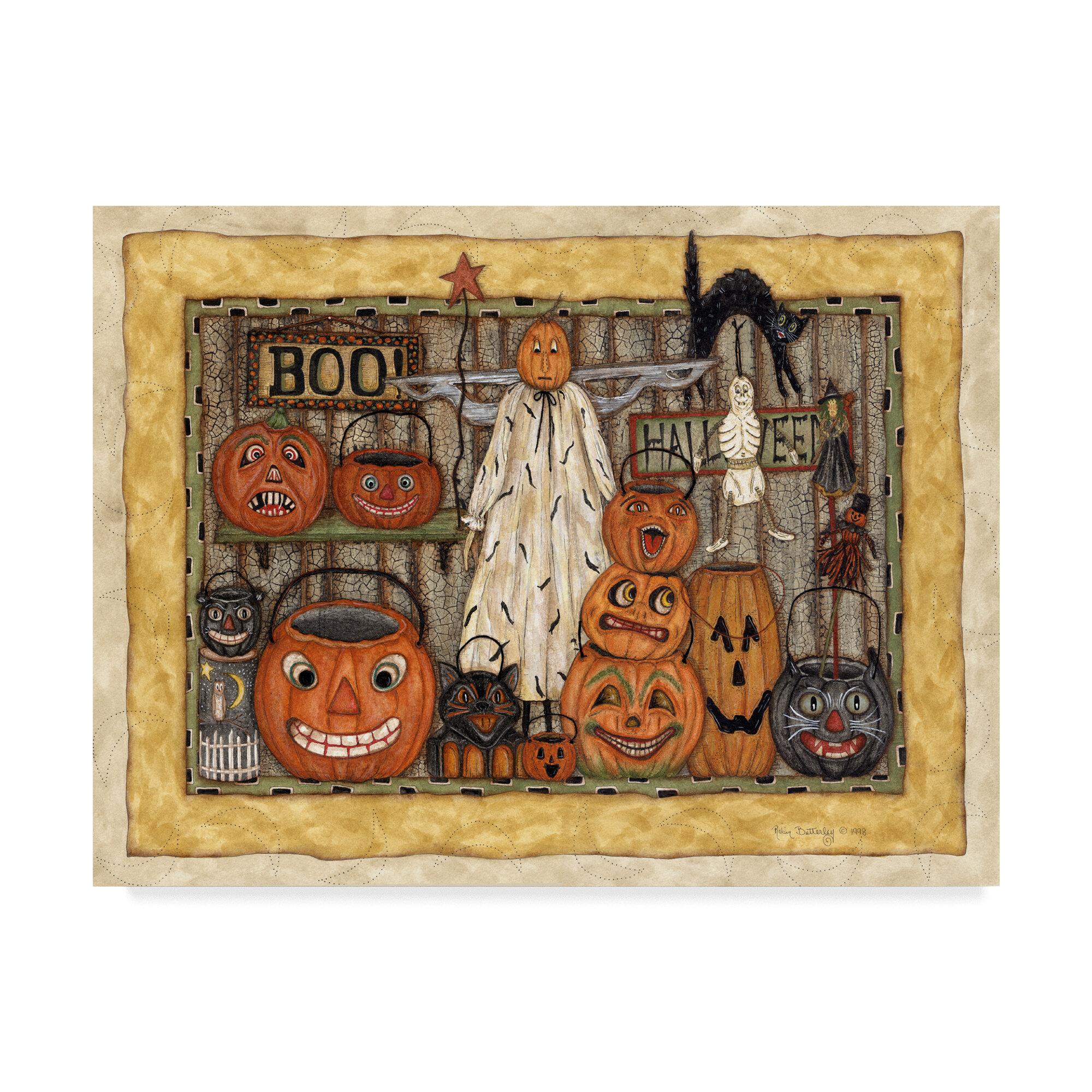 Trademark Art Halloween Pumpkins Acrylic Painting Print On