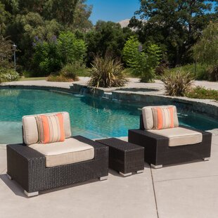 Lower Failand Outdoor 3 Piece Wicker Club Chair and Table Set