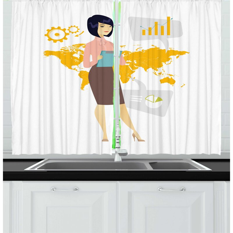 East Urban Home 2 Piece Boss Lady Professional Woman Working In Global Business World Map And Notepad Kitchen Curtain Set Wayfair