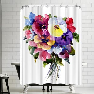Suren Nersisyan Pansies Single Shower Curtain
