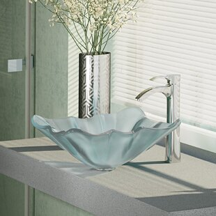 René By Elkay Glass Specialty Vessel Bathroom Sink with Faucet