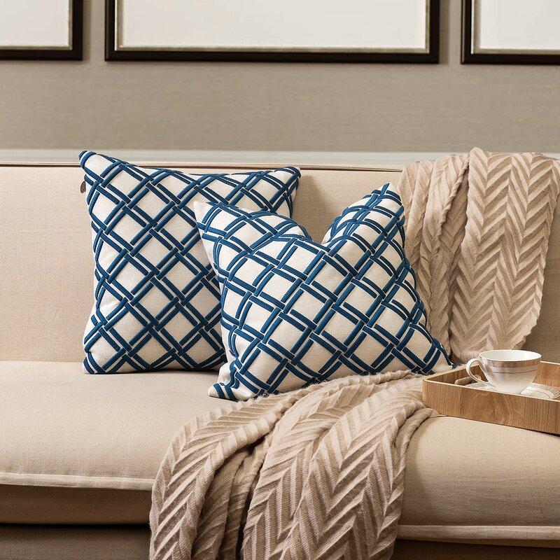 Bayou Breeze Itzel Geometric 18 Throw Pillow Cover Reviews Wayfair