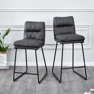 Homan PU Leather 30 Bar Stool (Set of 2) Wrought Studio