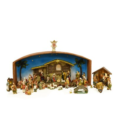 The Holiday Aisle 52 Piece Religious Christmas Village with Holy Family Nativity Set