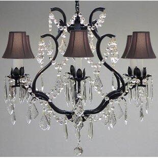 Rosdorf Park Clemence 6-Light Black Shaded Chandelier