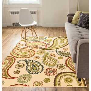 Kings Court Flora Paisley Ivory Indoor/Outdoor Area Rug