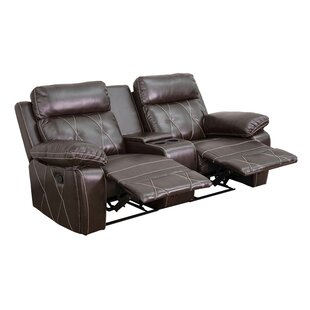 Latitude Run 2 Seat Reclining Leather Home Theater Sofa