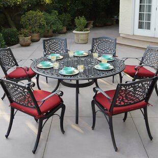 Astoria Grand Appleby 7 Piece Metal Dining Set with Cushions