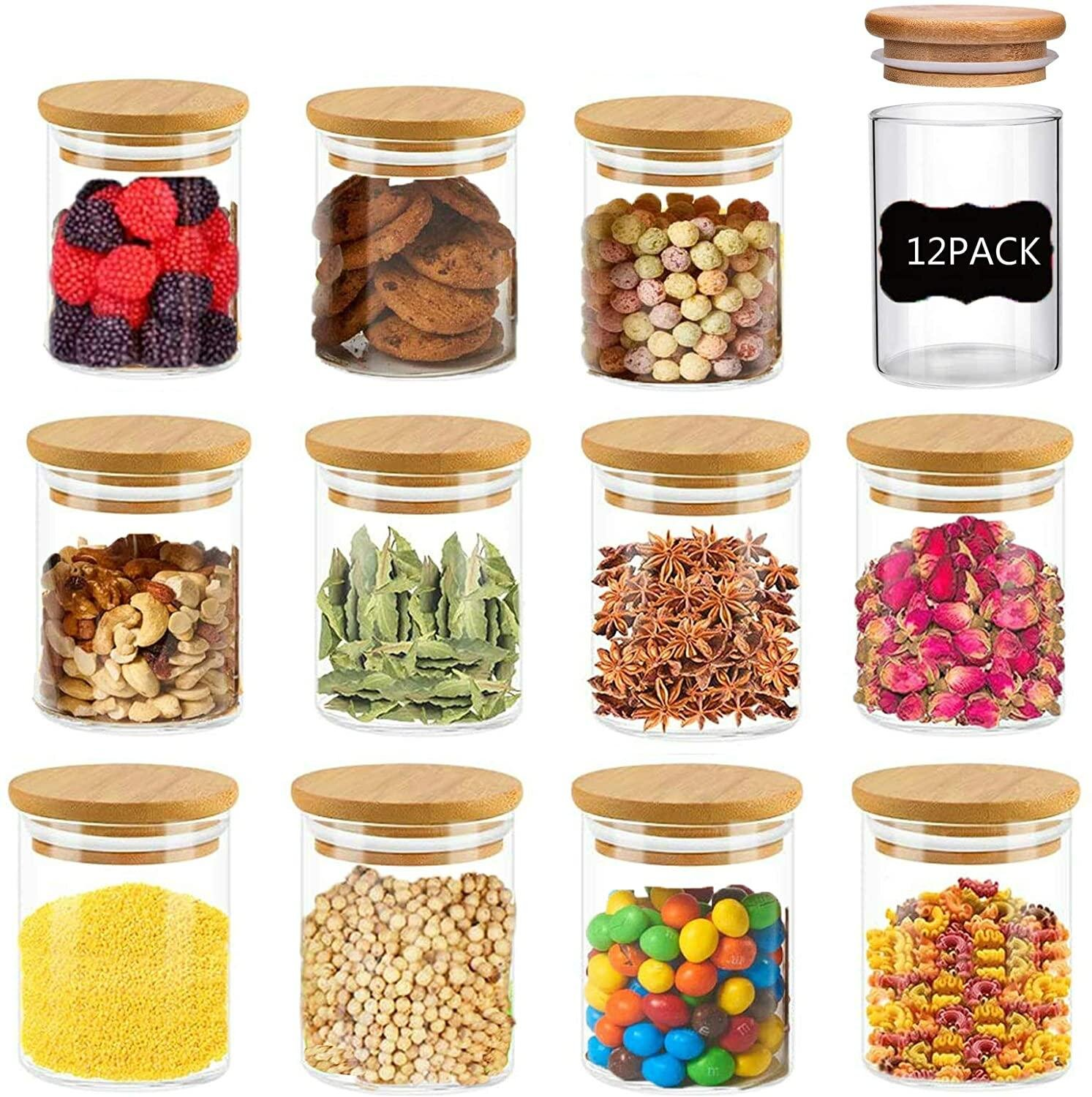 Glass Jars With Wood Lids, 9Ml /9Oz Mini Clear Glass Airtight Spice  Jars,9 PCS Small Food Storage Containers For Home Kitchen, Tea, Herbs,  Sugar, ...