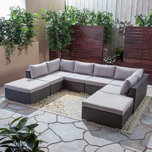 Ansonia Outdoor 8 Piece Sectional Seating Group with Cushions