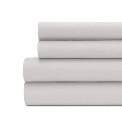 Briarwood Home 100% Cotton Solid Percale Sheet Set Size: King, Color: Silver Gray