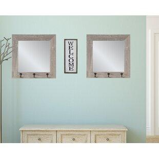 Gracie Oaks Laoise 2 Piece Weathered Hook Mirror Set
