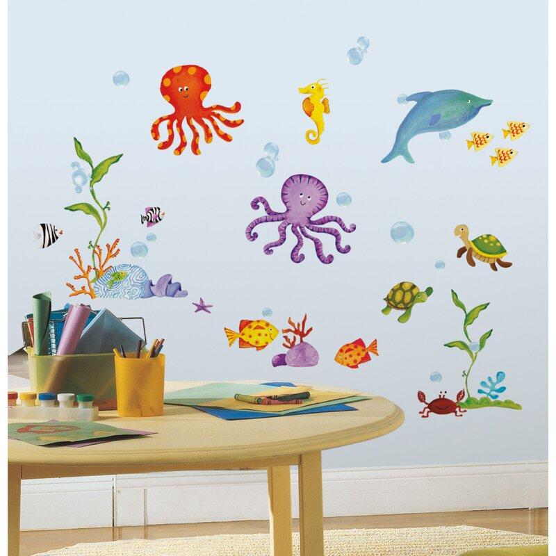 Octopus Ocean Sea Animals Quote Wall Art Stickers Decals Vinyl Decor Room Home Medium,Blue