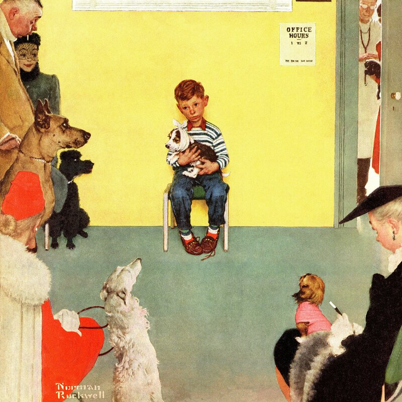 'At The Vets' by Norman Rockwell Painting Print on Wrapped Canvas