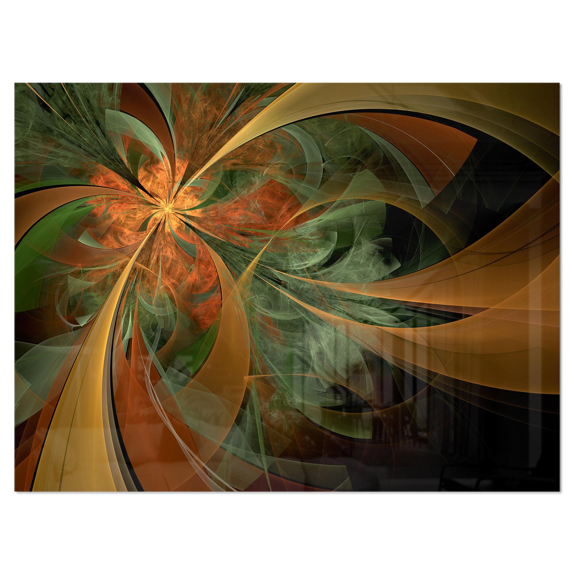 Ebern Designs Symmetrical Orange Digital Fractal Flower Graphic Art On Wrapped Canvas Reviews Wayfair