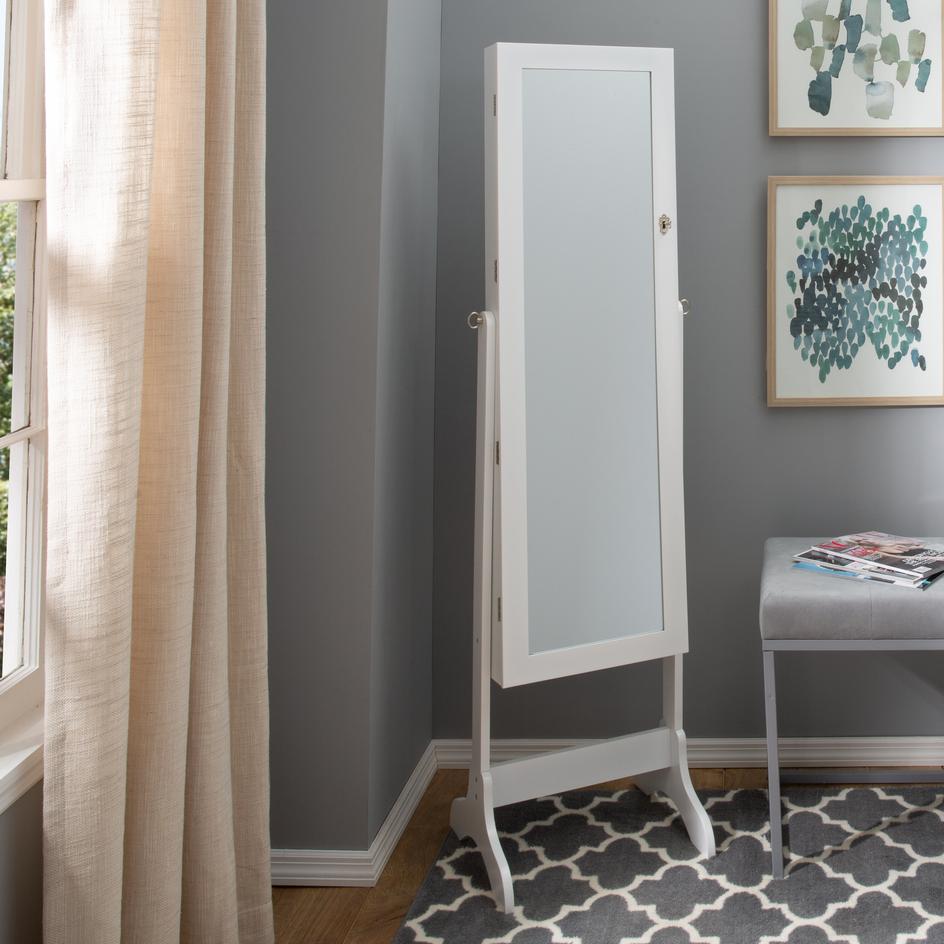 . Treadaway Free Standing Jewelry Armoire with Mirror