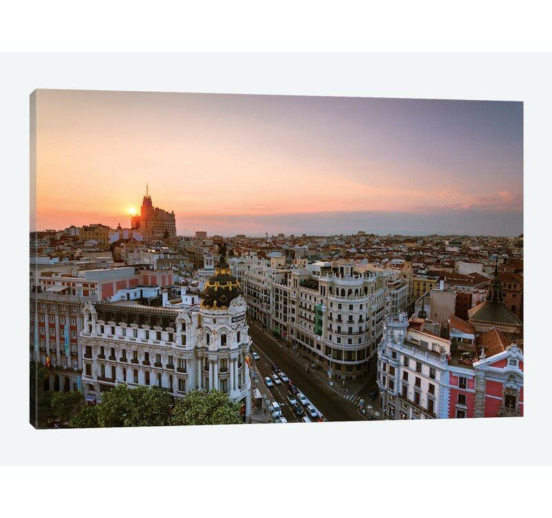 East Urban Home Sunset Over Madrid Spain By Matteo Colombo Graphic Art Print On Canvas Wayfair