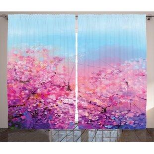 Sakura Blossom Floral Room Darkening Rod Pocket Curtain Panels (Set Of 2) by East Urban Home