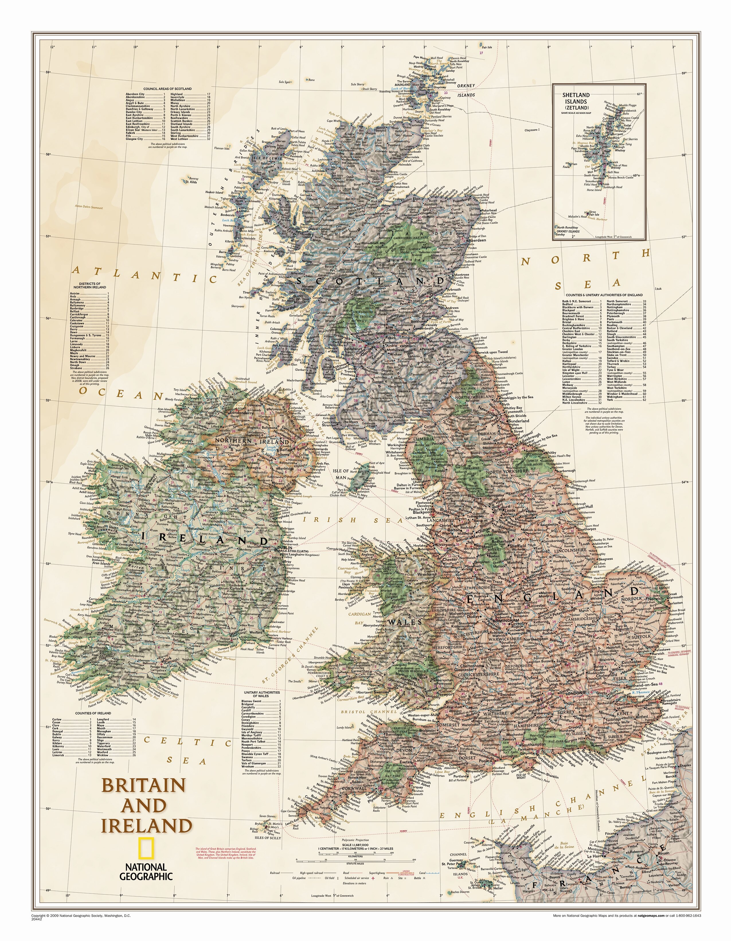 Map Of Ireland Highways.Britain And Ireland Executive Wall Map