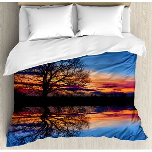 East Urban Home Panorama Tree Against Sunset at Magical Night with Sky Reflection Over Lake View Duvet Set