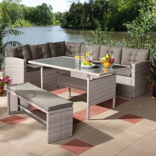 Tuscola 3 Piece Rattan Sofa Seating Group with Cushions