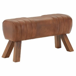 Mae Leather Wood Gym Stool By Union Rustic