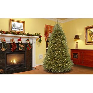 Hinged Fir Trees 7.5' Green Fir Trees Artificial Christmas Tree with 750 Clear/White Lights