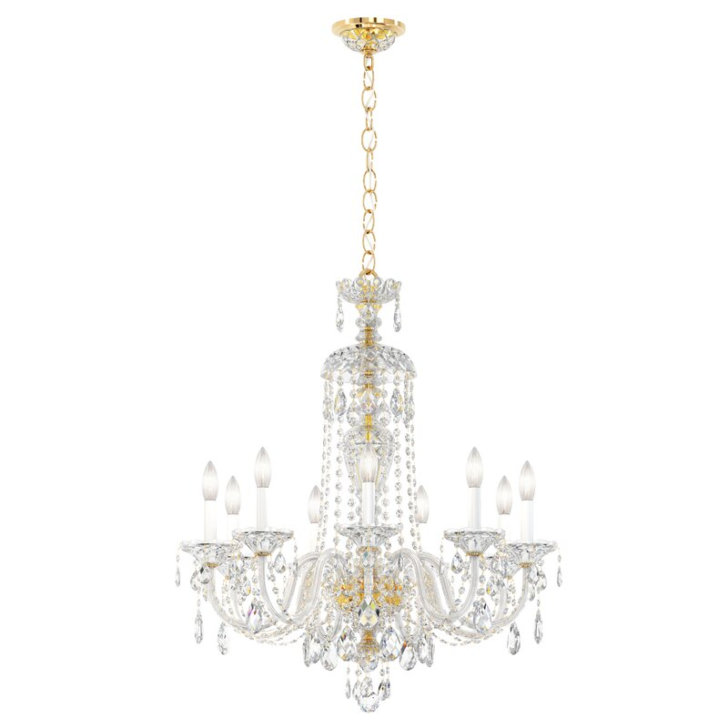 Schonbek Sterling 9 Light Candle Style Classic Traditional Chandelier With Crystal Accents Perigold