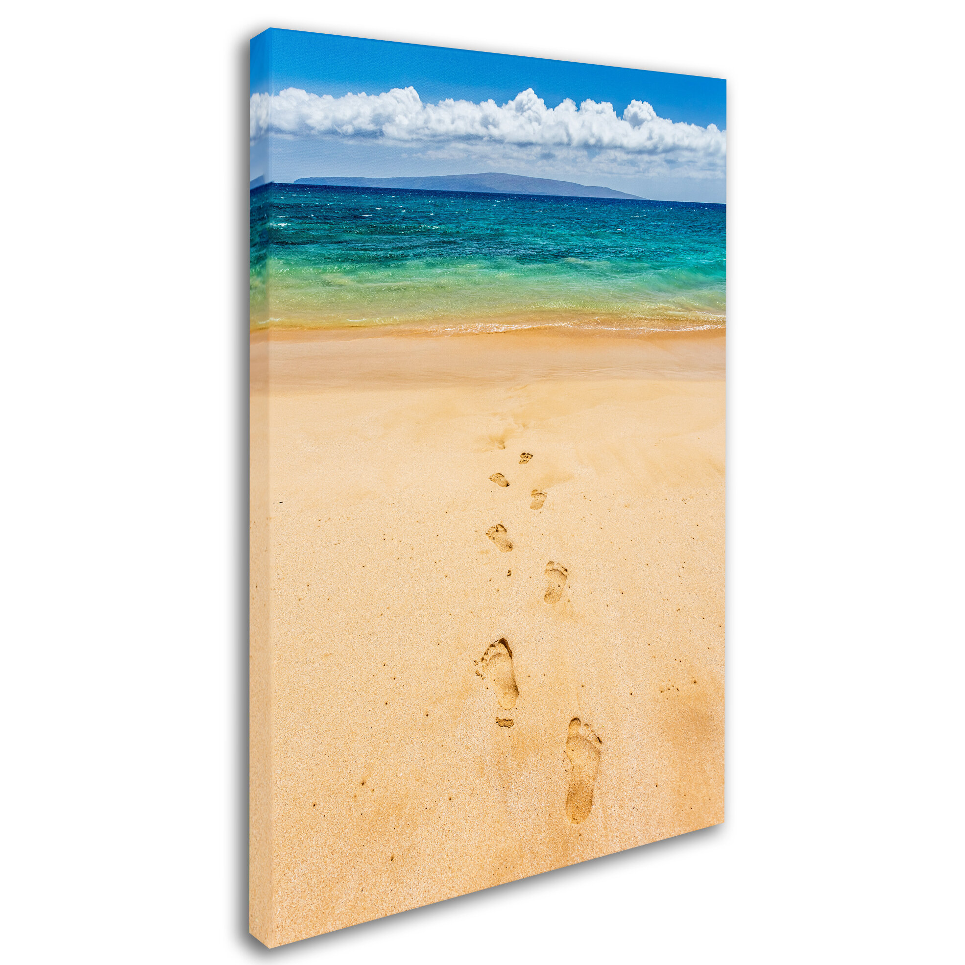 Trademark Art Footprints In The Sand By Pierre Leclerc Photographic Print On Wrapped Canvas Wayfair