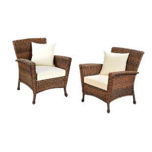 One Allium Way Ophélie Outdoor Faux Sea Grass Garden Patio Chair with Cushion (Set of 2)