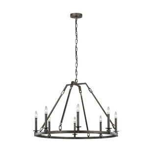 Gracie Oaks Castelli 8-Light Wagon Wheel Chandelier