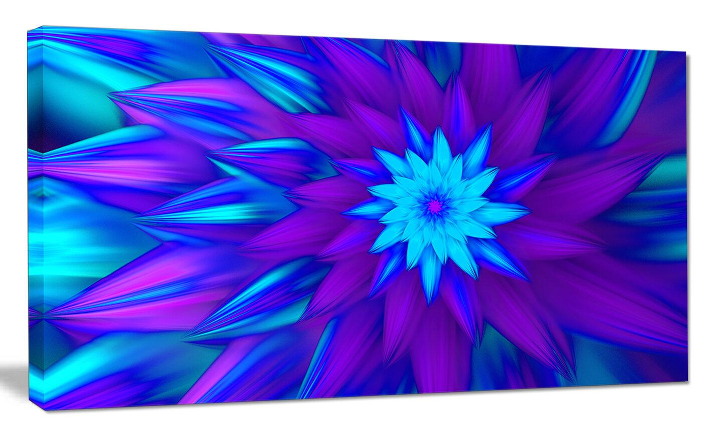 Designart Dance Of Blue Flower Petals Graphic Art On Wrapped Canvas Wayfair