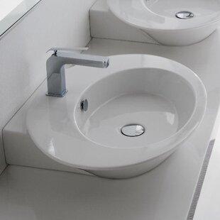 Scarabeo by Nameeks Wish Ceramic Oval Vessel Bathroom Sink with Overflow