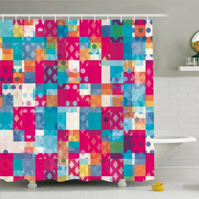 Modern Art Home Abstract Motif With Dots Squares And Chevron Lines Trendy Urban Print Shower
