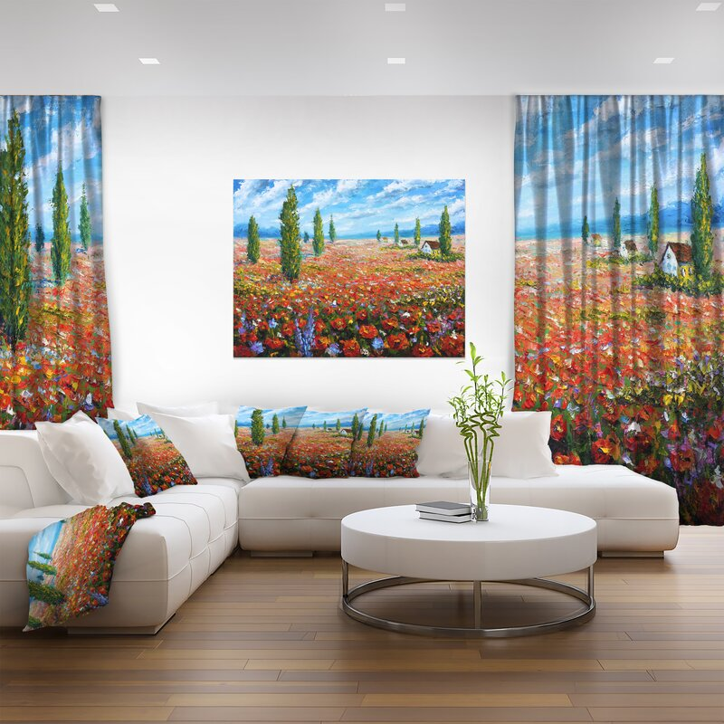 Designart Red Poppies Field Watercolor Large Flower Painting Print On Wrapped Canvas Wayfair