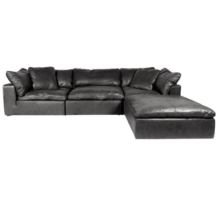 Fairwood Leather Right Hand Facing Modular Sectional with Ottoman