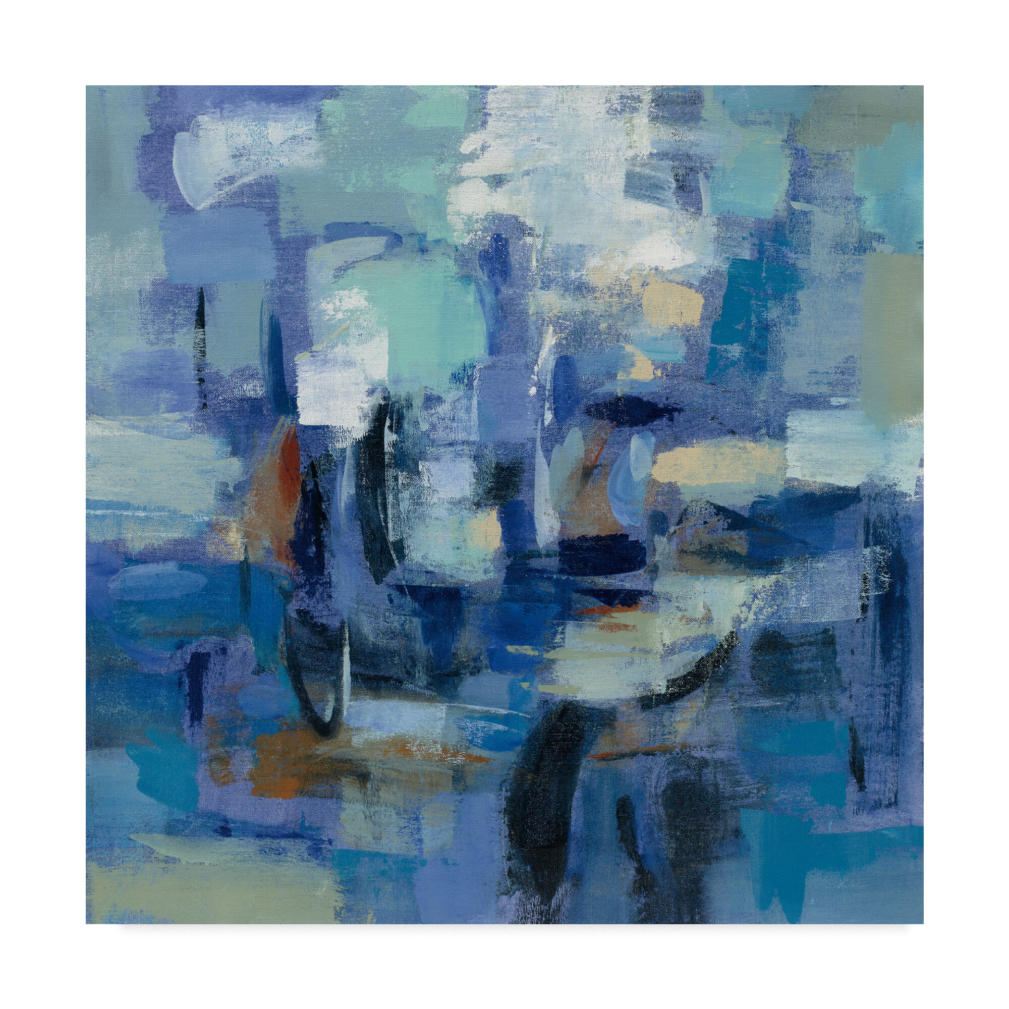 Wrought Studio Ultramarine Wave Ii Acrylic Painting Print On Wrapped Canvas Wayfair