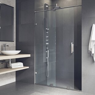 Ryland 62 inch  x 73 inch  Single Sliding Frameless Shower Door with RollerDisk™ Technology
