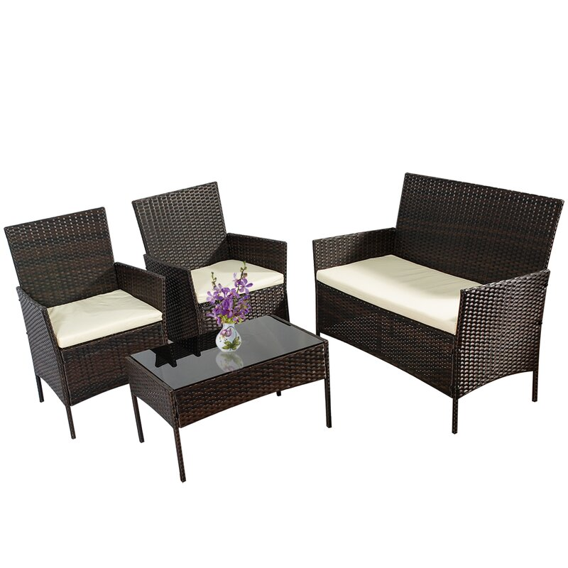 Ebern Designs 4 Piece Outdoor Patio Furniture Wicker Rattan Sofa