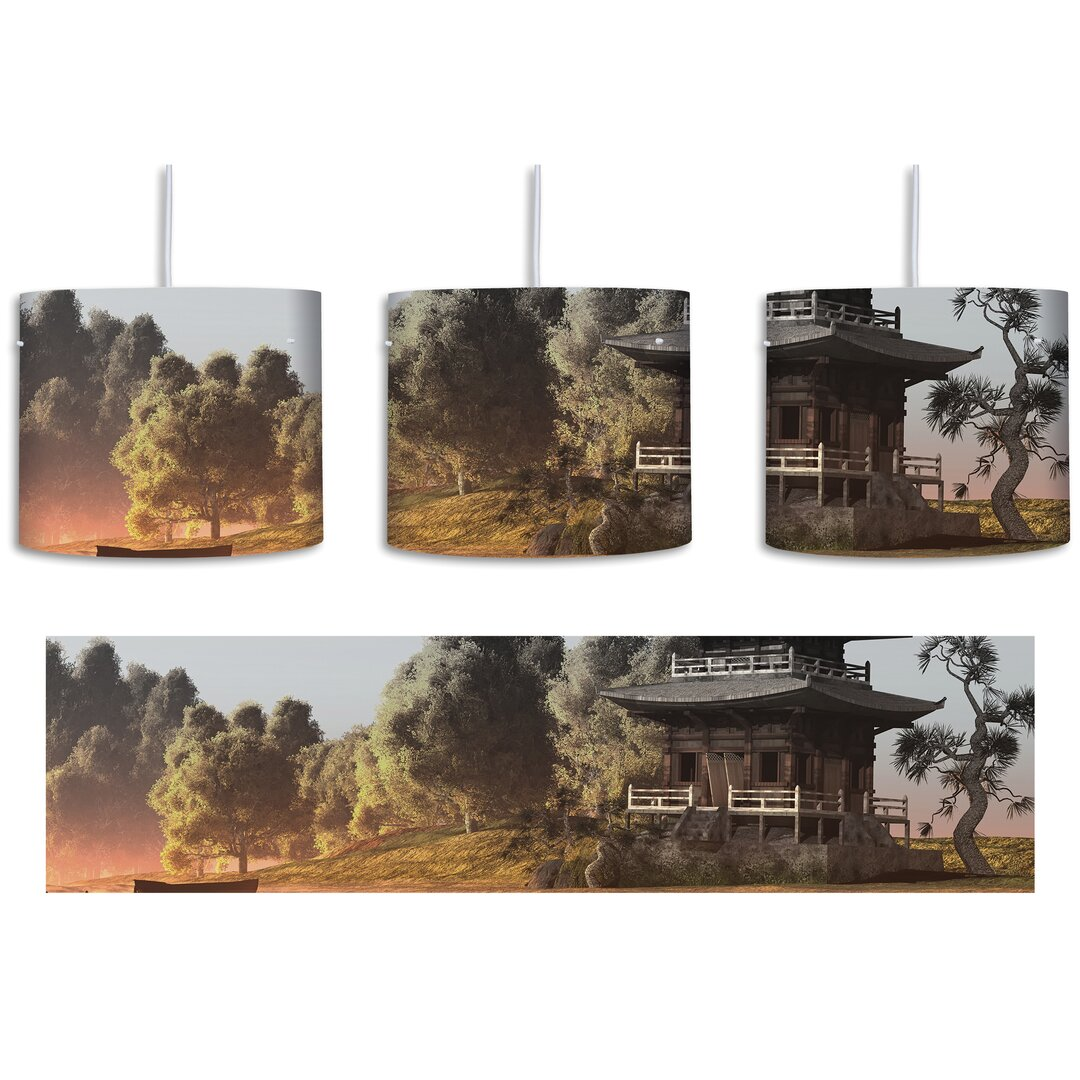 Magnificent Asian Temple 1-Light Drum Pendant