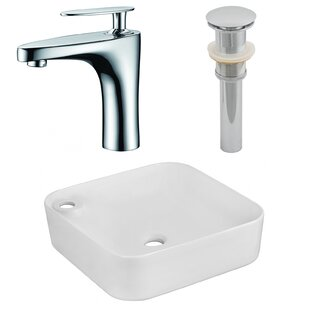 Comparison Ceramic Square Vessel Bathroom Sink with Faucet By American Imaginations