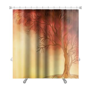 Nature Watercolor Landscape with Autumn Tree Digital Painting Premium Single Shower Curtain