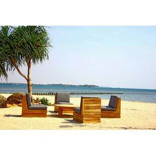 Seaside 5 Piece Teak Sunbrella Conversation Set with Cushions