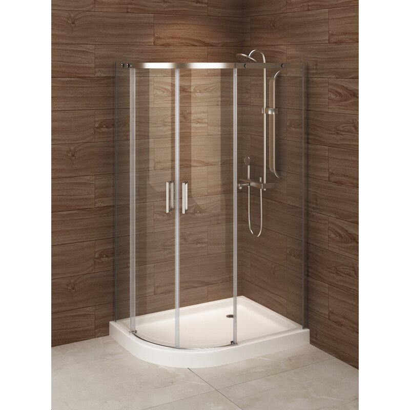 """A&E Bath and Shower Madrid 48"""" x 77"""" Neo-Angle Sliding Shower Enclosure with Base Included  Door Configuration: Left Side"""