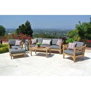 Trijaya Living Malibu 6 Piece Teak Sofa Set with Sunbrella Cushions