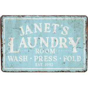 Personalized Mint Distressed Vintage-Look Laundry Metal Sign Wall Du00e9cor