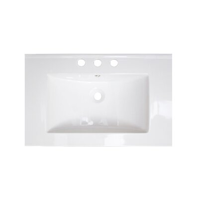 """25"""" Single Bathroom Vanity Top American Imaginations Faucet Mount: 8"""" Off Center, Hardware Finish: White"""