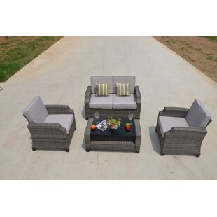 Myles 4-Piece Sofa Seating group with Luxury Cushions Lounge Set