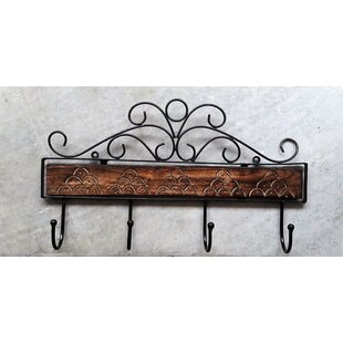 Petrick Wooden Wrought Iron Wall Mounted Coat Rack
